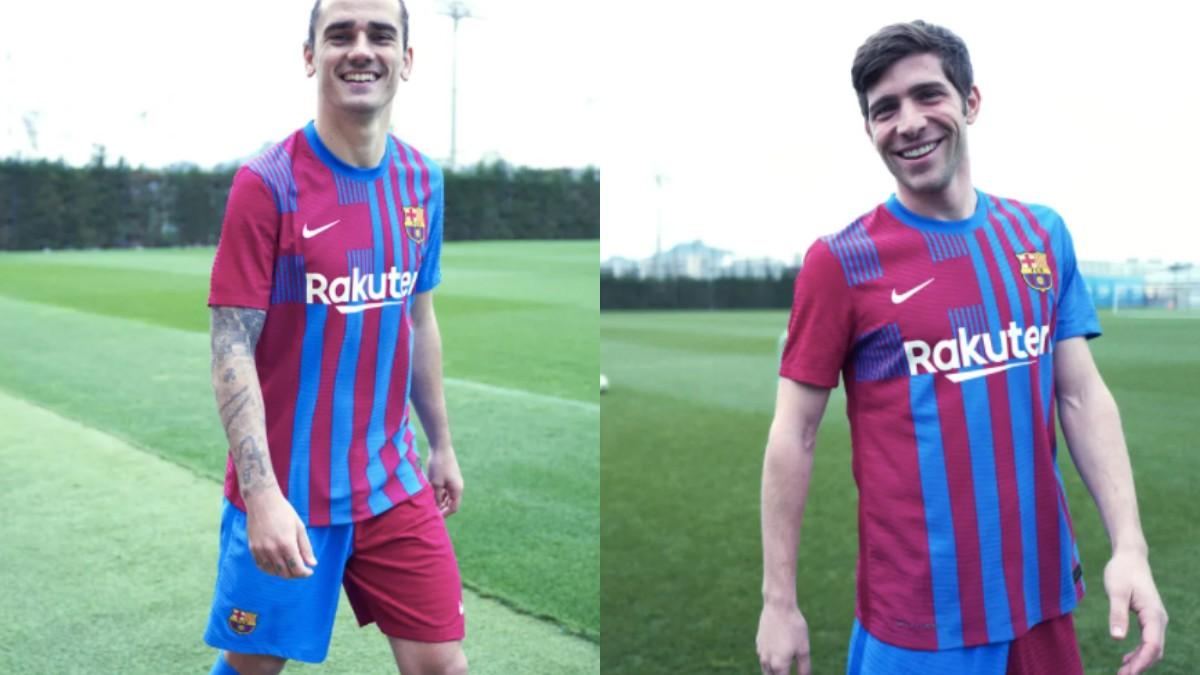Griezmann y Sergi Roberto, con la camiseta del Barcelona. (FC Barcelona)