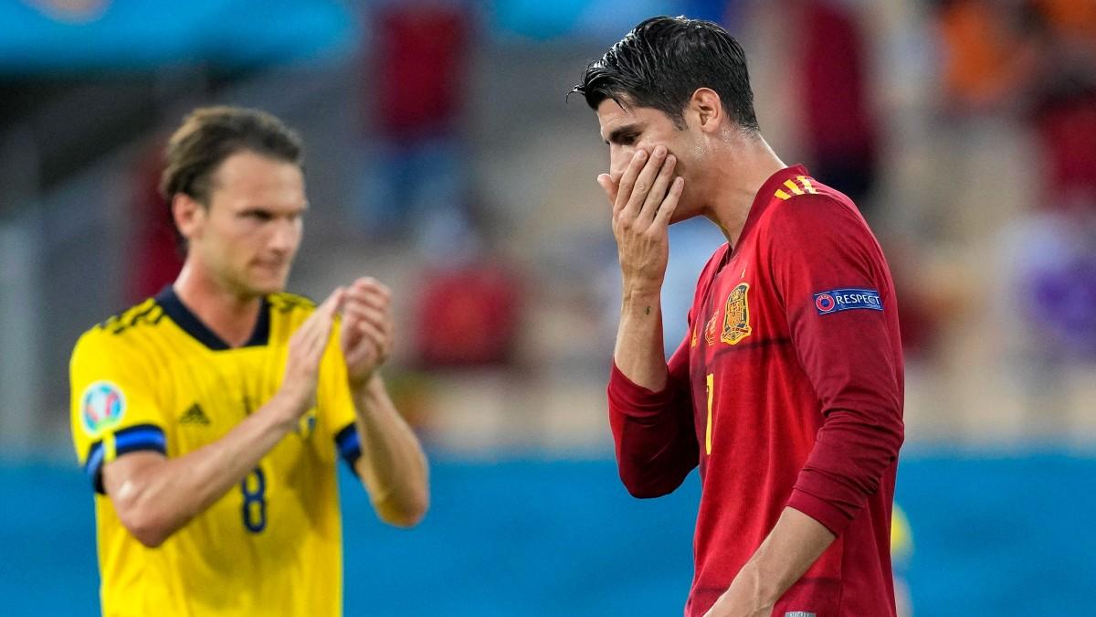 Álvaro Morata, en el partido contra Suecia. (Getty)