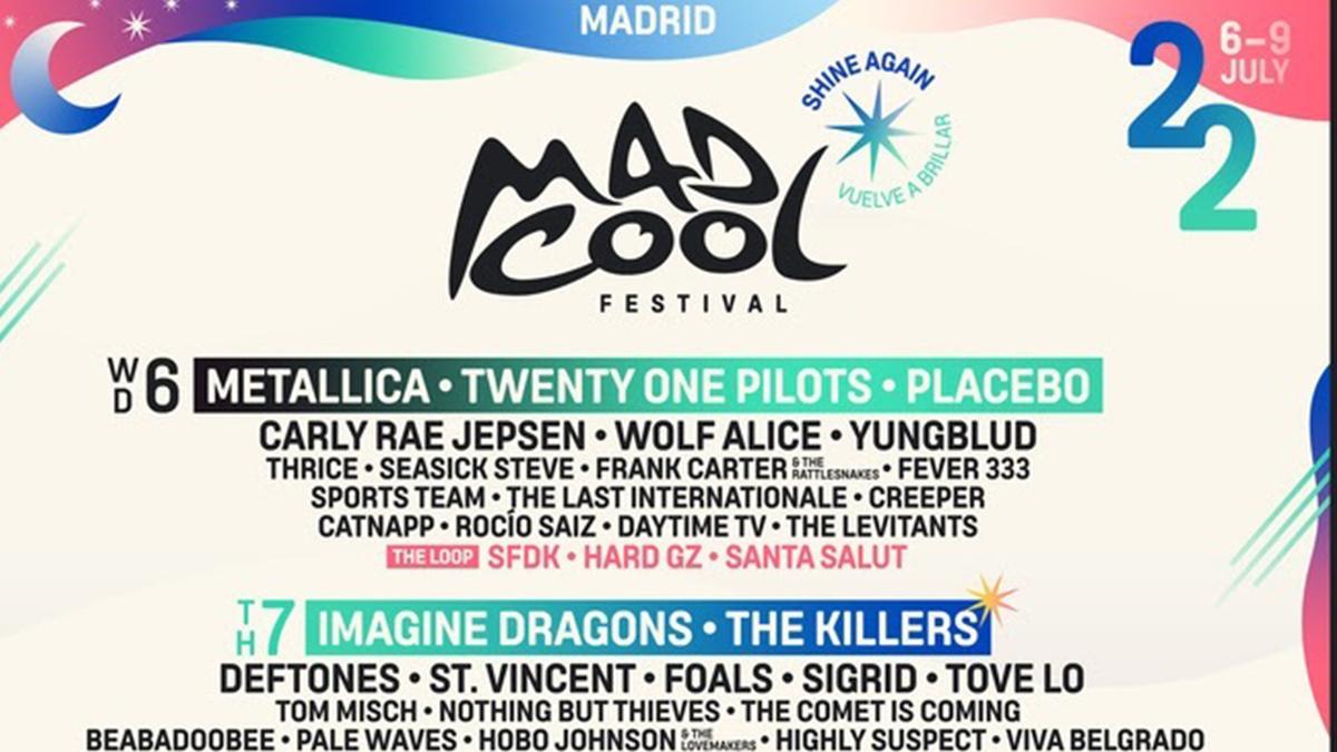 Cartel del festival Mad Cool de 2022.