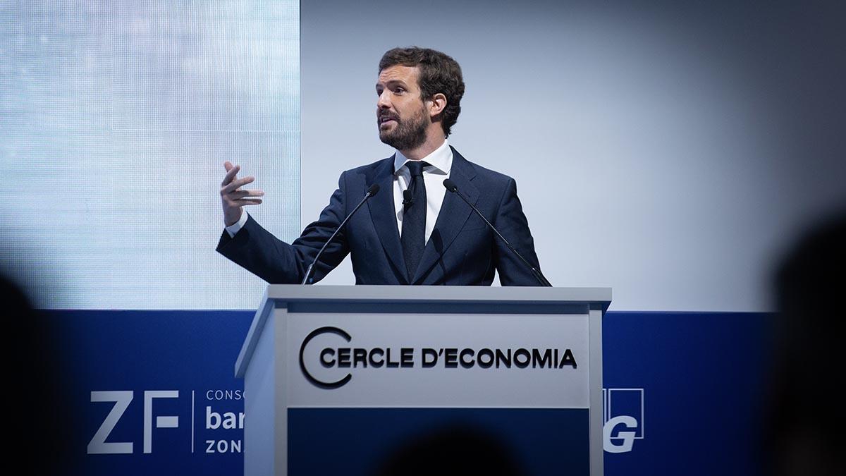 El líder del PP, Pablo Casado, en el Círculo de Economía