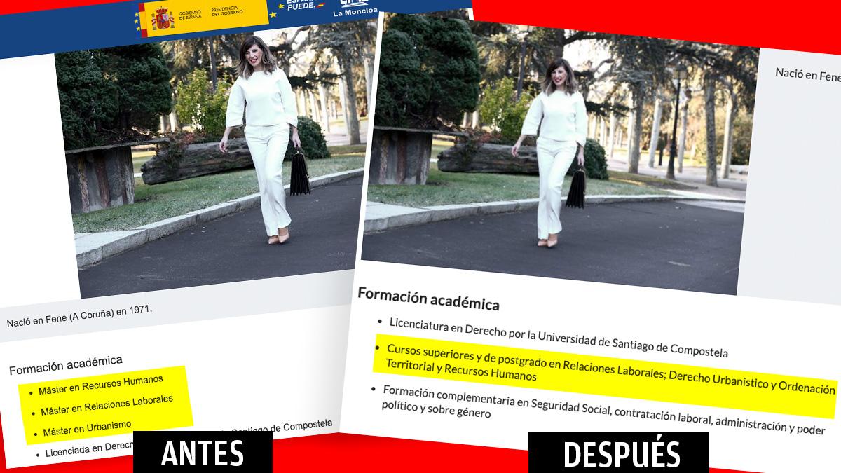 El currículum de Yolanda Díaz en la web de Moncloa tras los cambios.