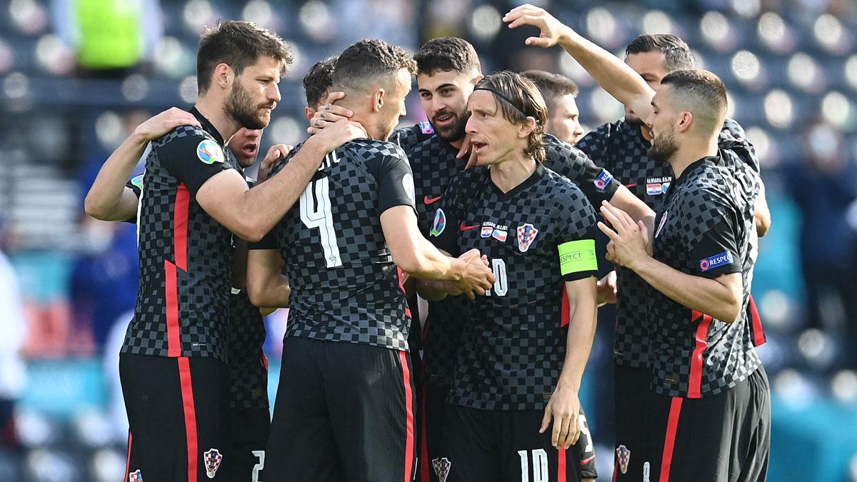 La selección de Croacia celebra el gol a la República Checa (AFP)