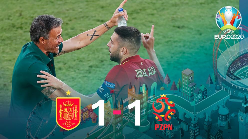 España y Polonia empatan a uno en el segundo partido de la Eurocopa.
