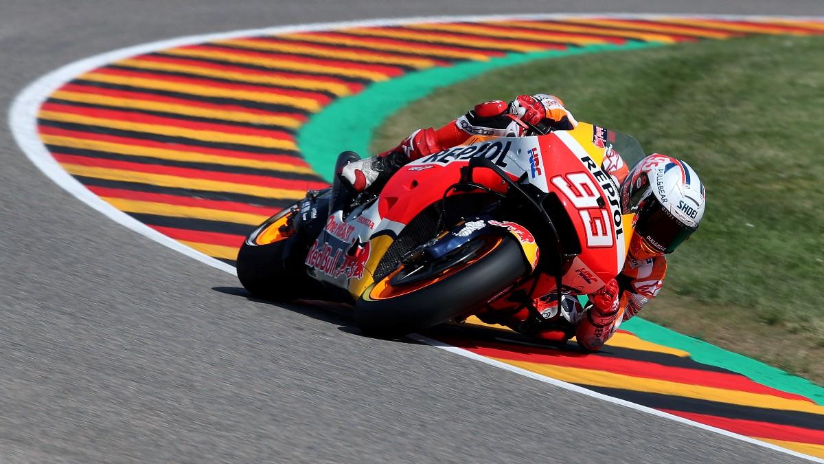 Marc Márquez durante la clasificación del GP de Alemania de MotoGP. (AFP)