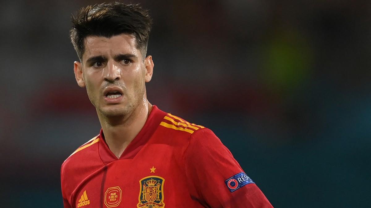 Morata, durante el España-Polonia de la Eurocopa. (AFP)
