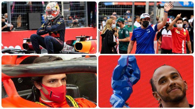 Verstappen, Fernando Alonso, Carlos Sainz y Hamilton