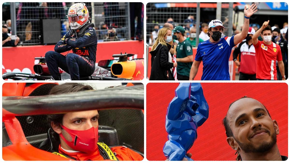 Max Verstappen, Fernando Alonso, Carlos Sainz y Lewis Hamilton durante el Gran Premio de Francia.