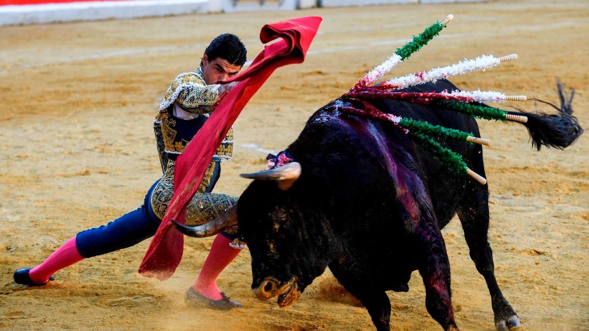 El diestro Pablo Aguado dando un pase durante la feria de Granada.