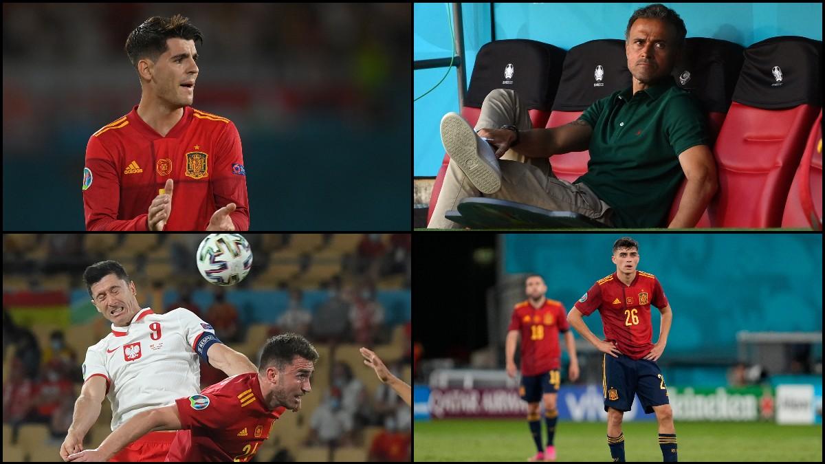 Morata, Luis Enrique, Pedri y Laporte, en el partido contra Polonia. (AFP)