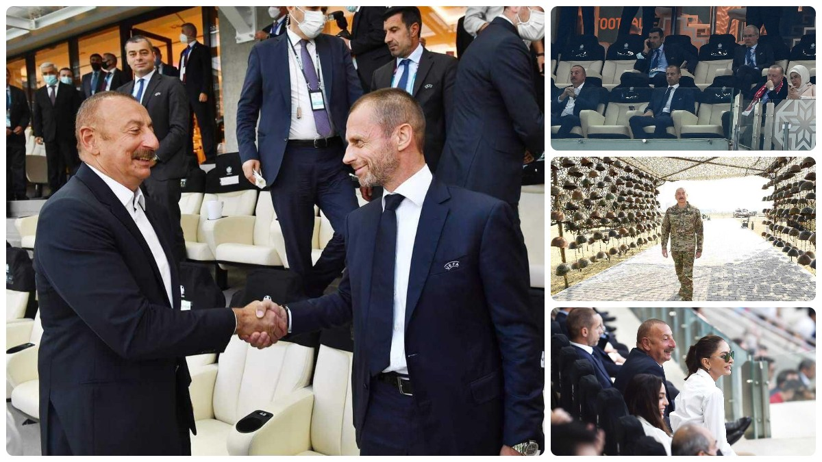 Ceferin se saluda con Aliyev en el palco.