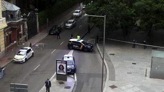 Corte de tráfico en el Paseo de la Castellana este martes.