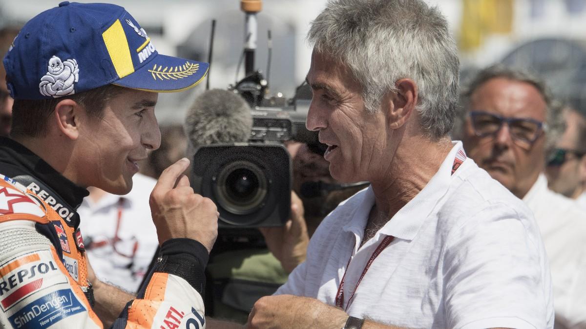 Marc Márquez y Mick Doohan tras el GP de Alemania en 2018. (Getty)