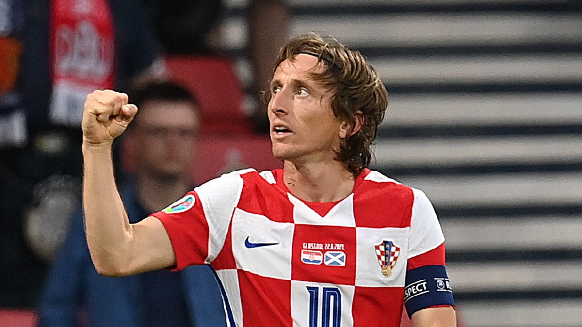 Luka Modric celebra su gol con Croacia ante Escocia (AFP).