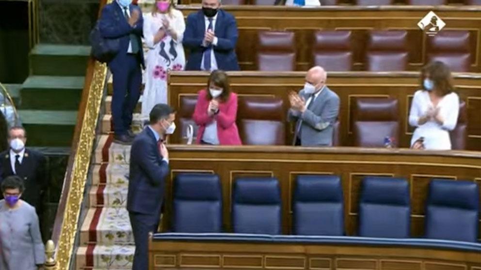Los aplausos de los diputado socialistas al Gobierno de Pedro Sánchez.
