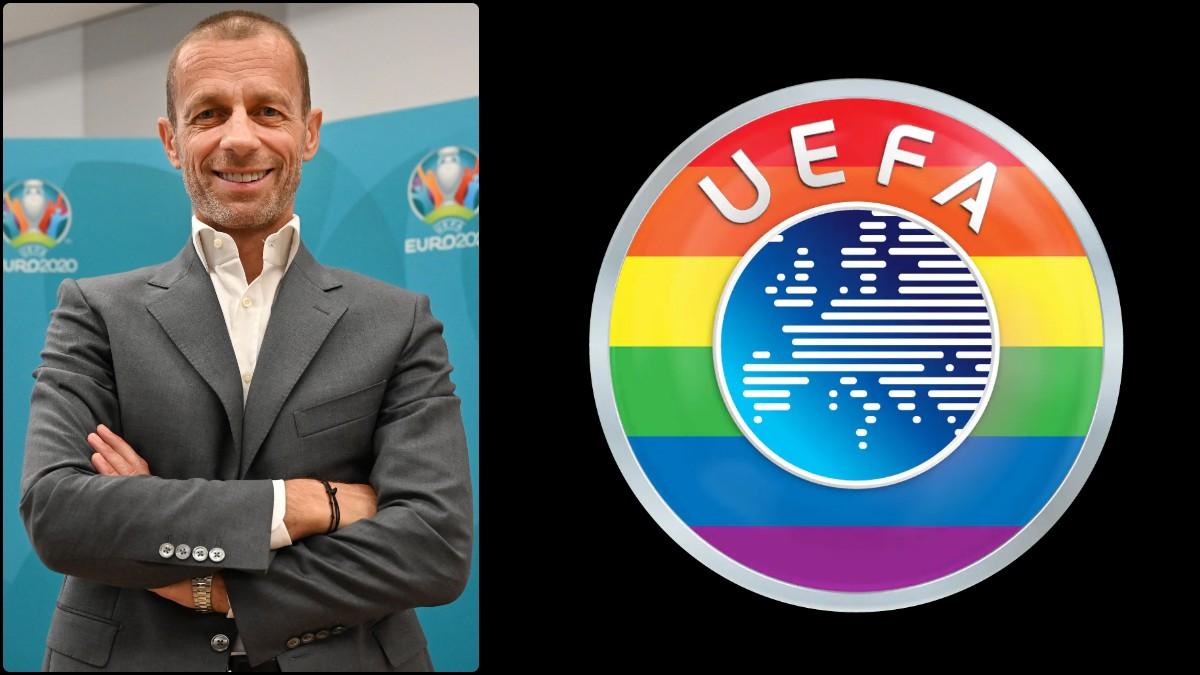 Aleksander Ceferin y el nuevo logo de la UEFA.