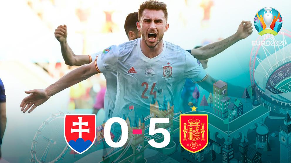España goleó a Eslovaquia en La Cartuja.