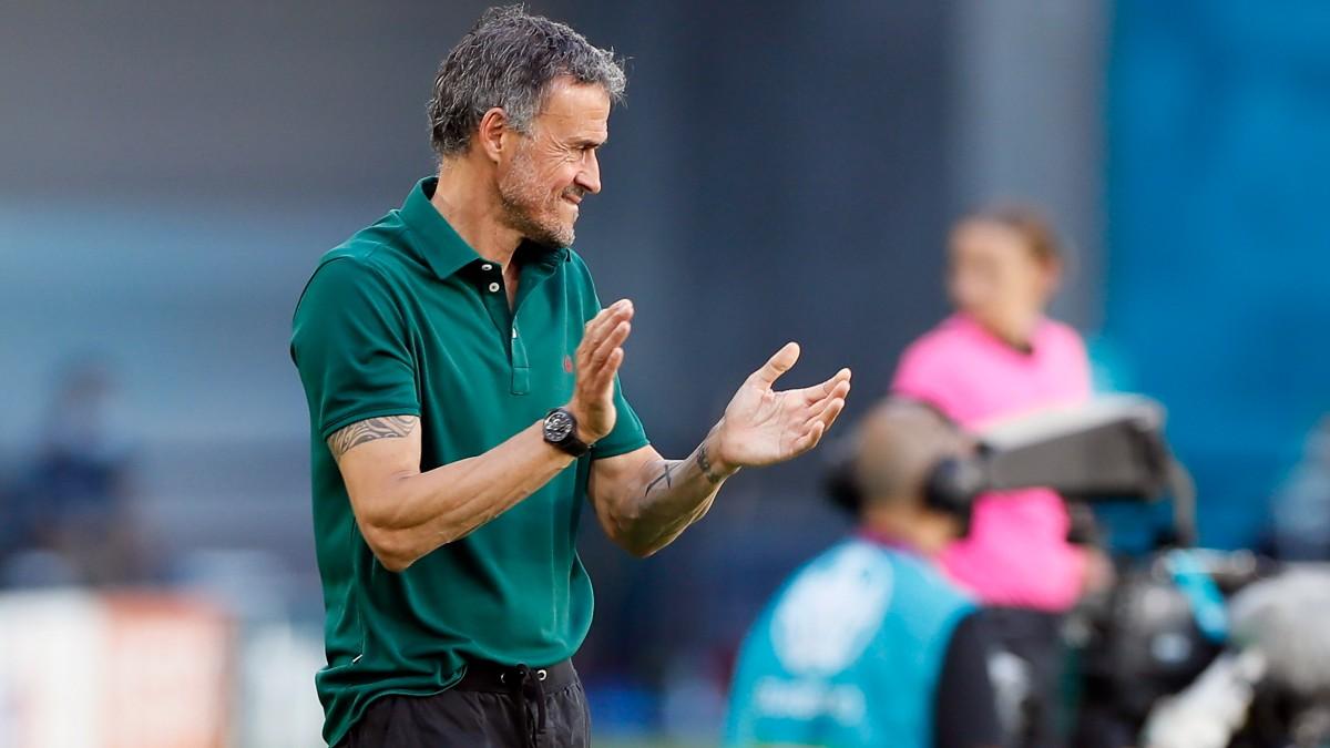 Luis Enrique aplaude en el partido contra Eslovaquia. (EFE)