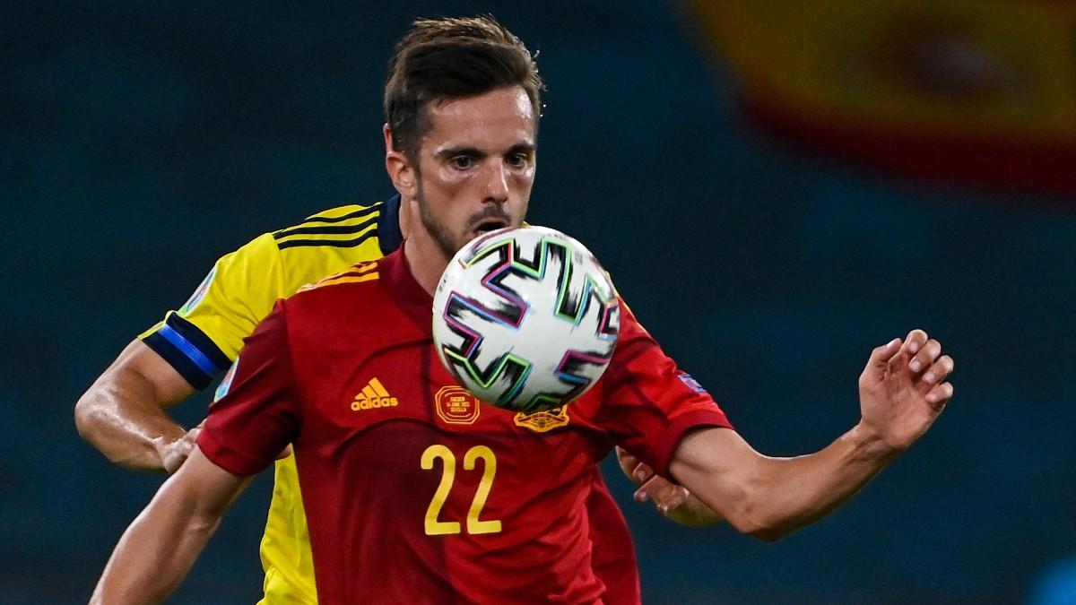 Sarabia, durante un partido con España. (AFP)
