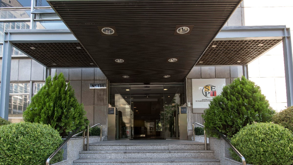Entrada a la sede de la SEPI en Madrid.