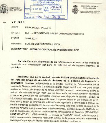 Oficio de la Policía Científica dirigido al juez del 'caso Dina'.