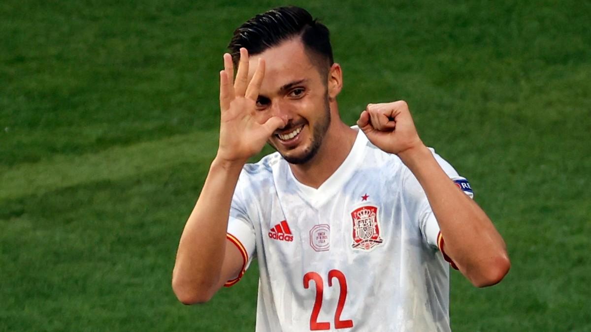 Pablo Sarabia celebra el gol marcado ante Eslovaquia (EFE).