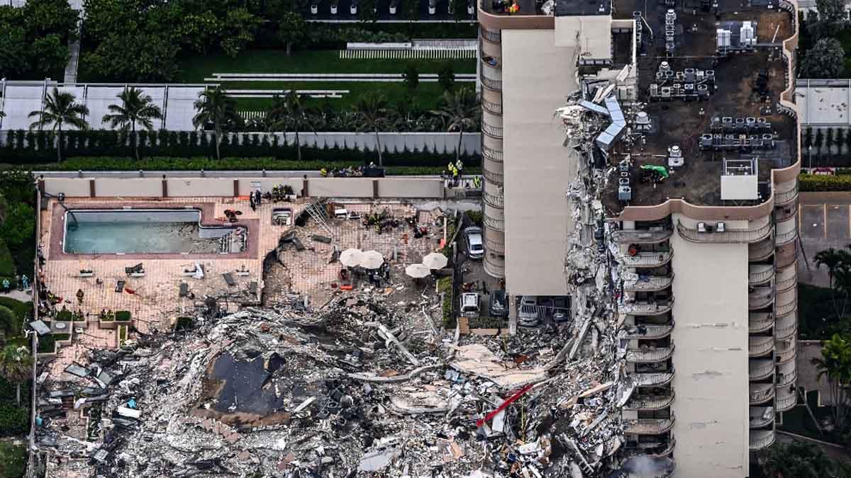 Los apartamentos que han colapsado en Miami. Foto: AFP