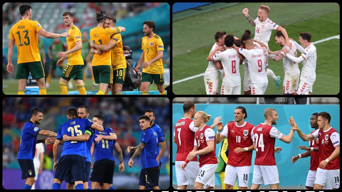Gales-Dinamarca e Italia-Austria, primeros enfrentamientos de los octavos de final de la Eurocopa. (Getty)
