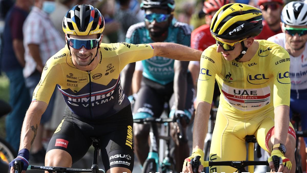 Roglic y Pogacar, en el pasado Tour de Francia. (AFP)