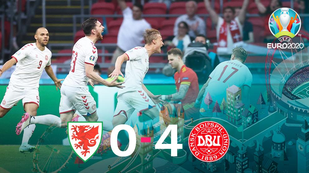Dolberg lideró el triunfo de Dinamarca ante Gales.