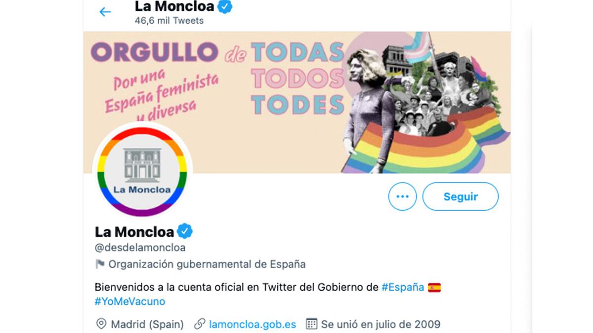 Perfil oficial de La Moncloa en las redes.