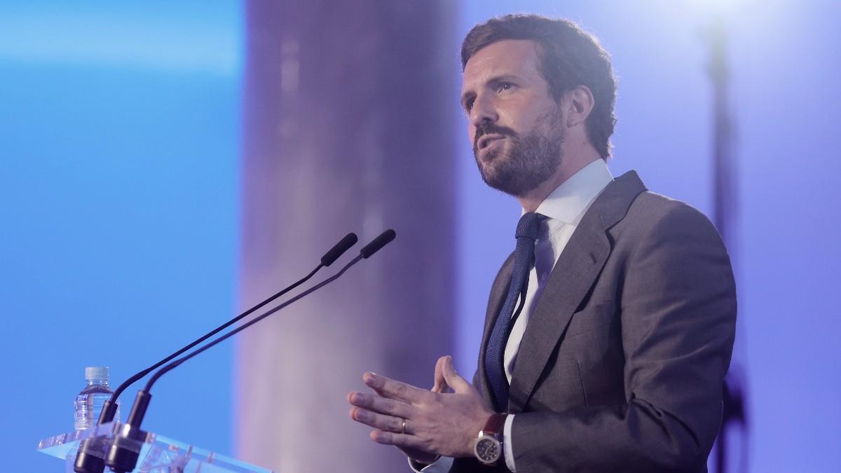 El líder del PP, Pablo Casado, explica los detalles de la próxima Convención Nacional.