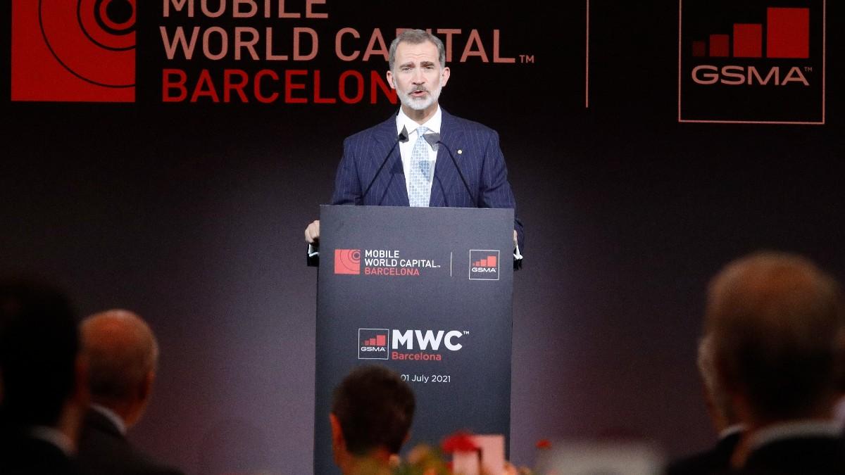 El Rey Felipe VI durante la cena inaugural del Mobile World Congress.