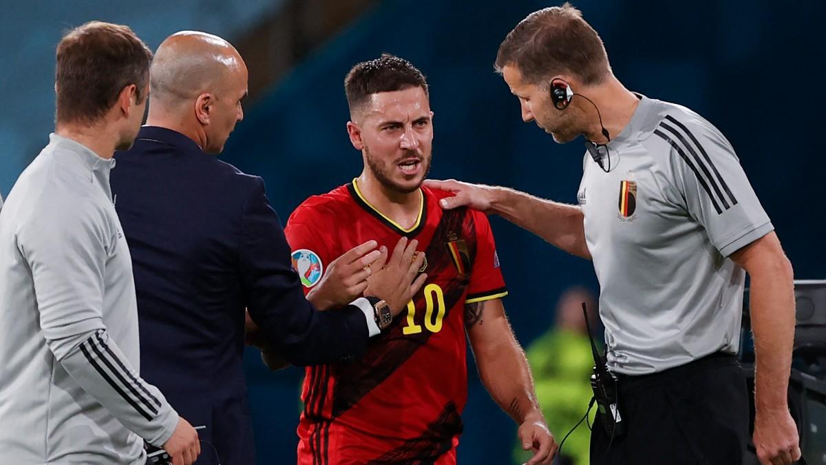 Eden Hazard pidió el cambio en el Bélgica-Portugal de la Eurocopa. (AFP)