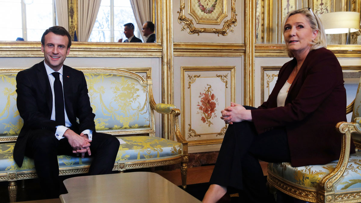 Emmanuel Macron y Marine Le Pen (Foto: AFP)