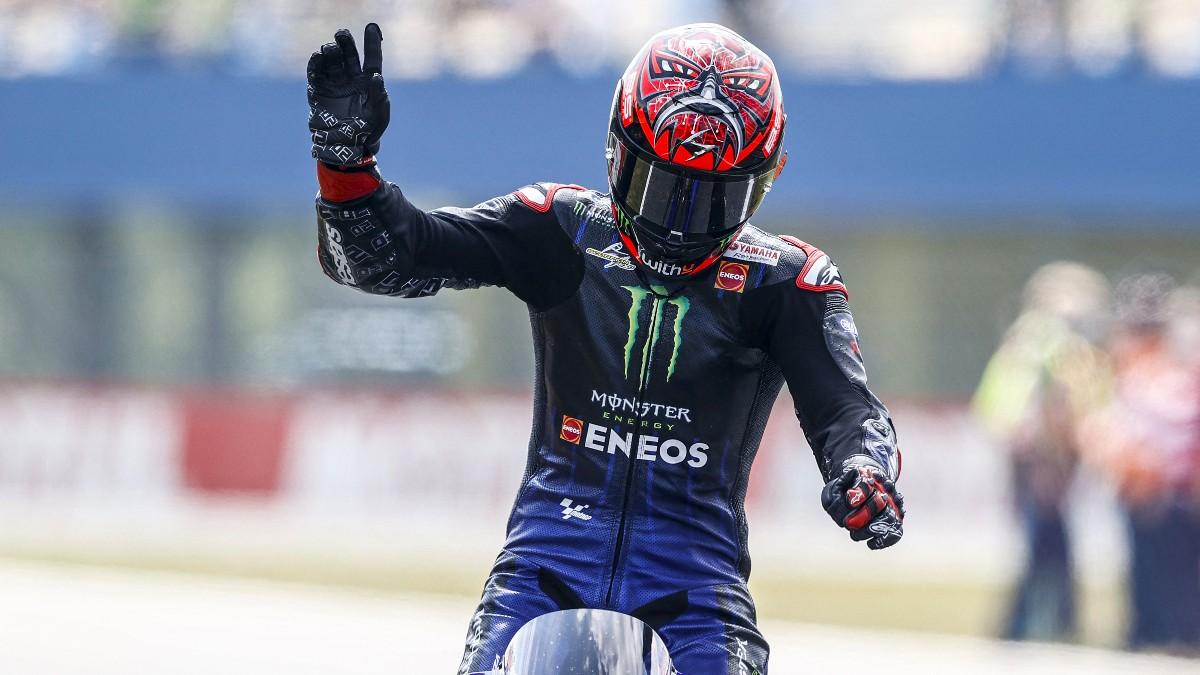 Fabio Quartararo celebra su victoria en el GP de Holanda de MotoGP. (AFP)