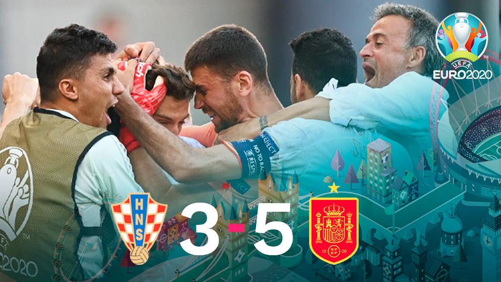 España ganó 5-3 a Croacia y se metió en cuartos de la Eurocopa.
