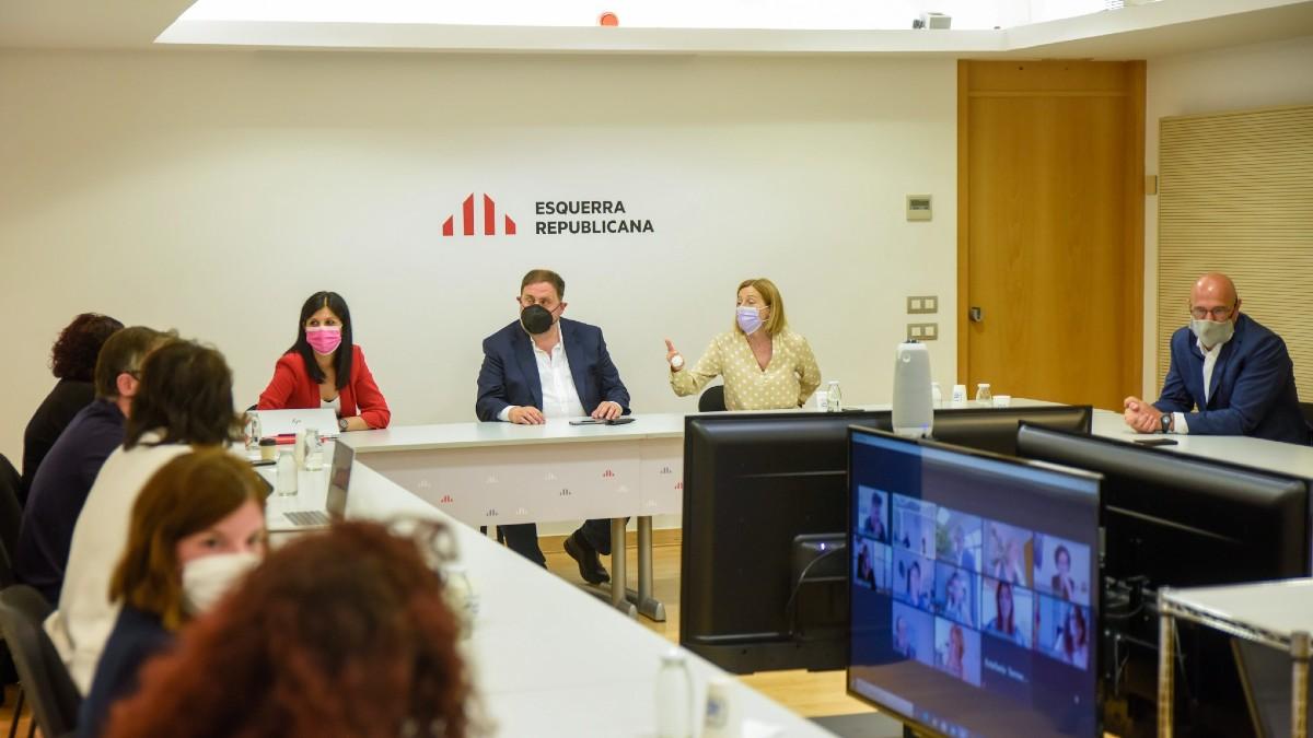 Oriol Junqueras presidiendo la reunión de la cúpula de ERC. (Foto: Europa Press)