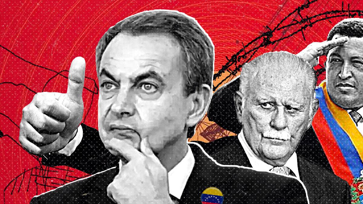 José Luis Rodríguez Zapatero, José Vicente Rangel y Hugo Chávez.