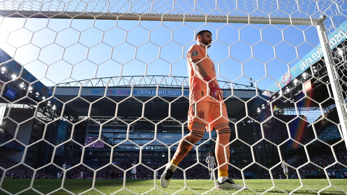 Unai Simón, tras recibir el primer gol ante Croacia. (Getty)