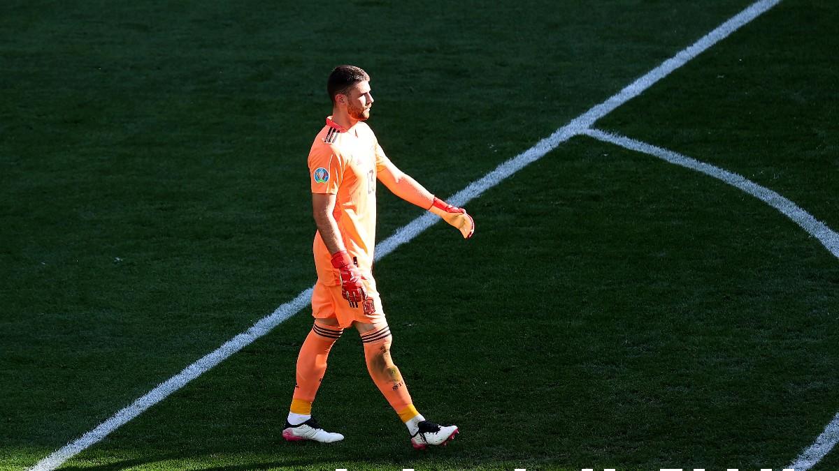 Unai Simón tras cometer su fallo en el España-Croacia de la Eurocopa. (AFP)