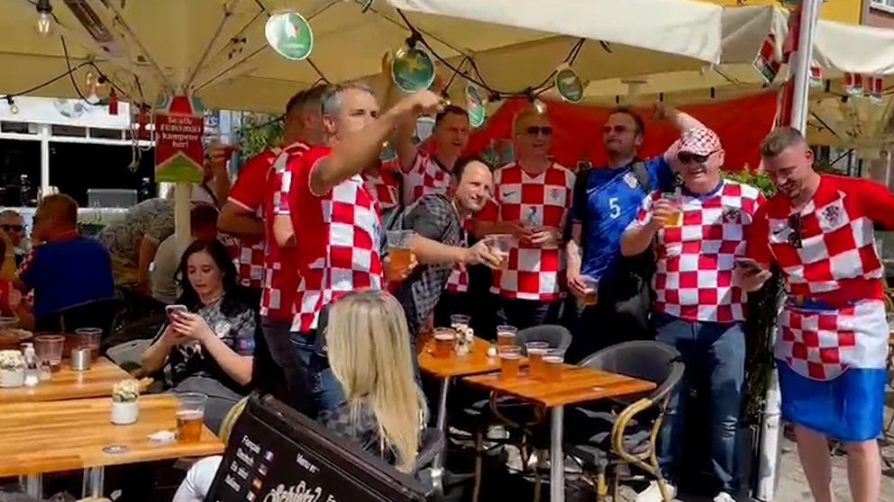 La afición croata en las calles de Copenhague.
