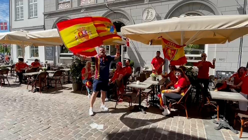 La afición española, en Copenhague.