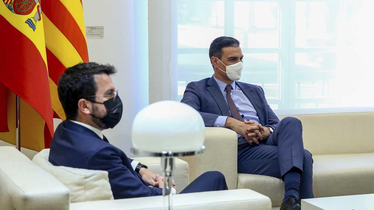 Pedro Sánchez y Pere Aragonès. Foto: Europa Press.