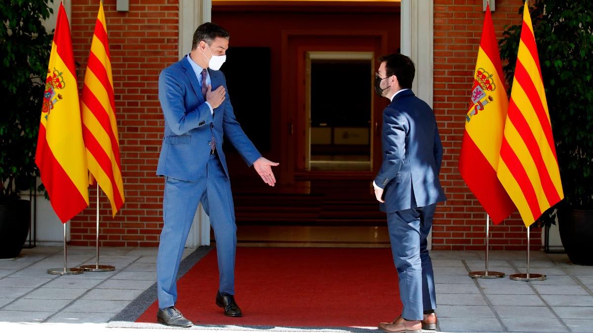 Pedro Sánchez y Pere Aragonès, en La Moncloa. (Foto: Efe)