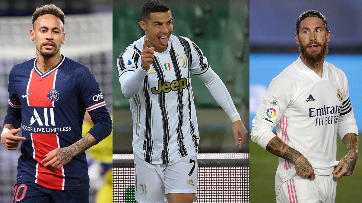 Neymar, Cristiano y Ramos (Getty/AFP)