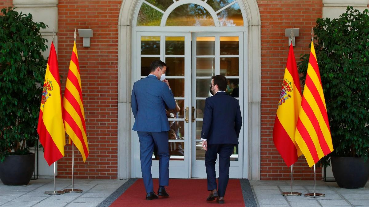 Pedro Sánchez y Pere Aragonès en la Moncloa. Foto: EFE