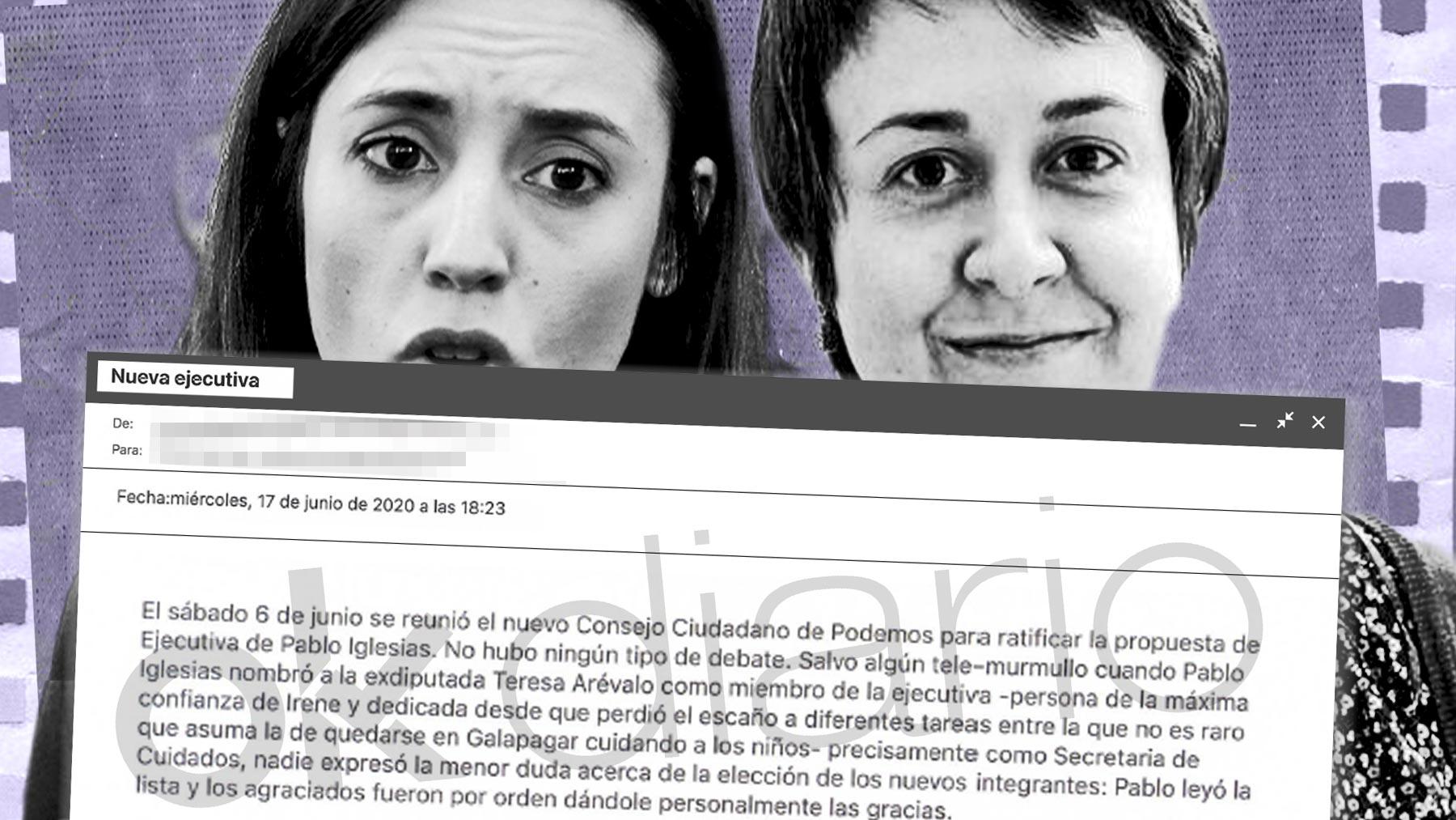 Irene Montero y Teresa Arévalo.