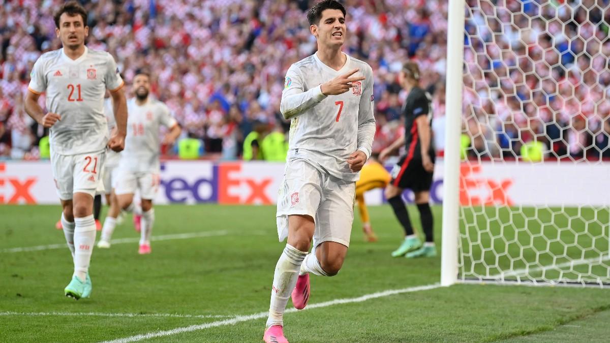 Morata celebra su gol contra Croacia. (AFP)