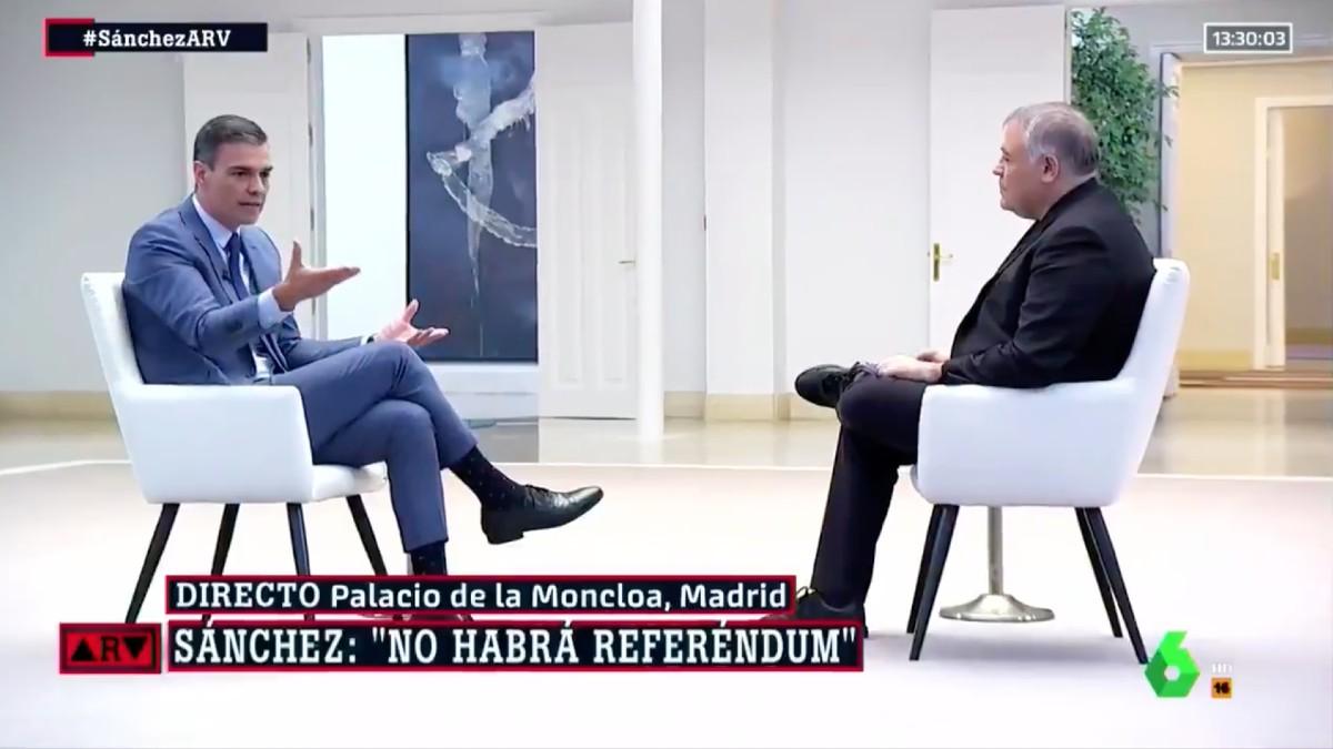 Pedro Sánchez durante la entrevista de 'Al Rojo Vivo' de La Sexta.