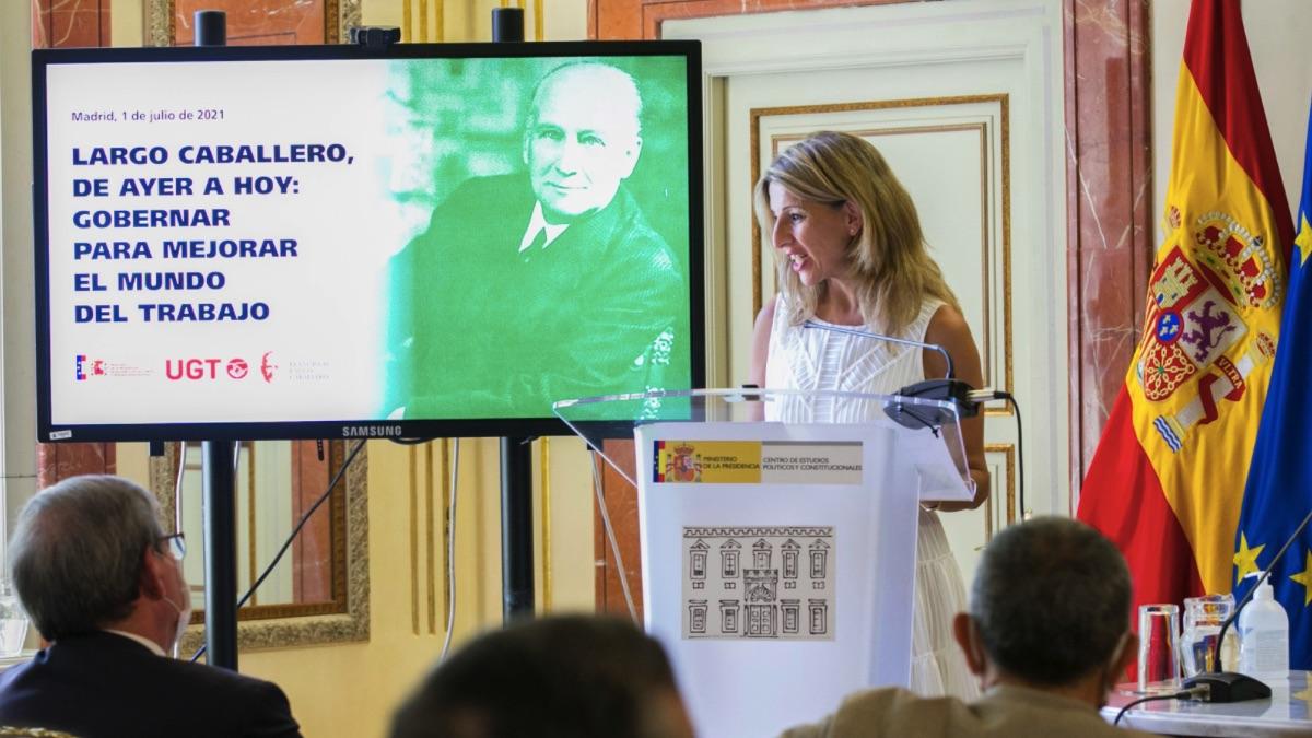 Yolanda Díaz en el acto de memoria a Largo Caballero. (Foto: Gobierno)